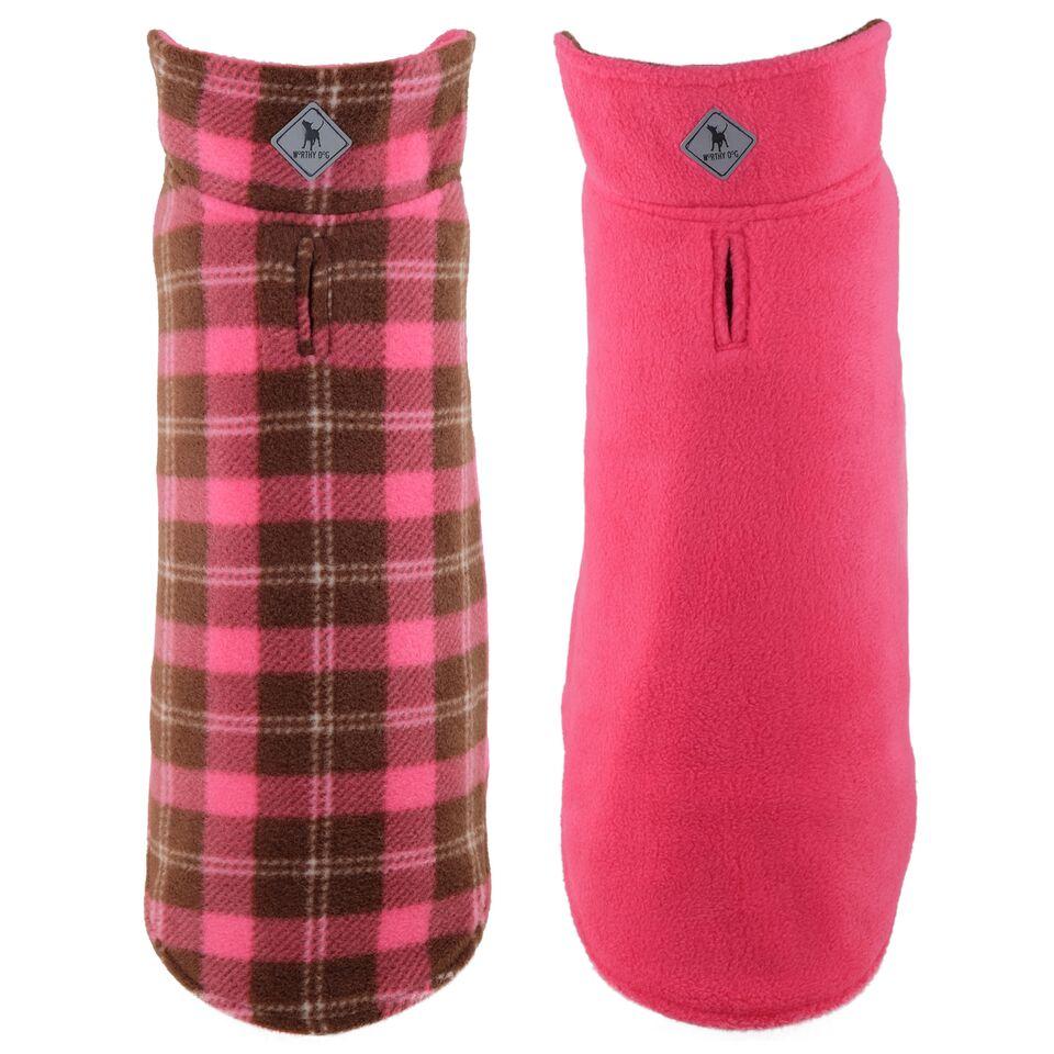 The Worthy Dog Reversible Fargo Fleece Jacket, Pink Plaid III, 10-in