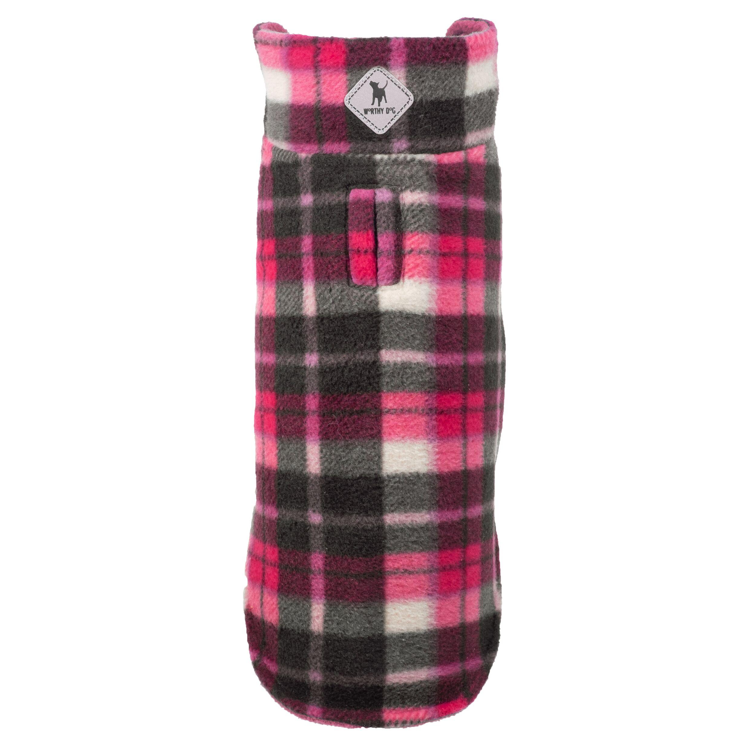 The Worthy Dog Reversible Fargo Fleece Jacket, Pink Plaid, 8-in