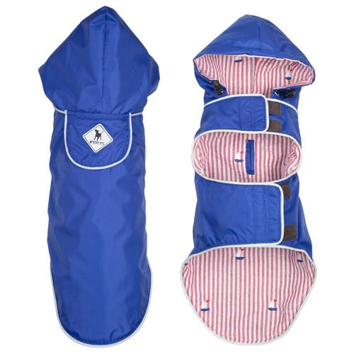 The Worthy Dog Seattle Slicker Jacket, Blue & Sailboat, Small