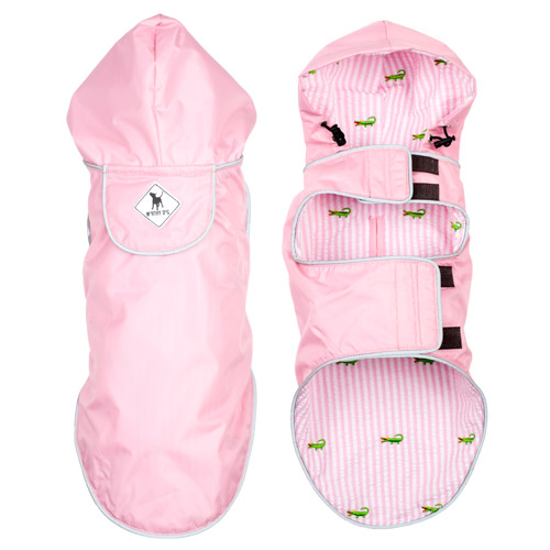The Worthy Dog Seattle Slicker Jacket, Pink & Alligator, Small