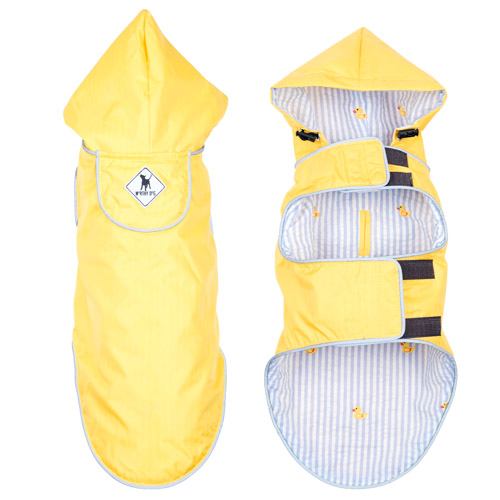 The Worthy Dog Seattle Slicker Jacket, Yellow & Rubber Duck, X-Small