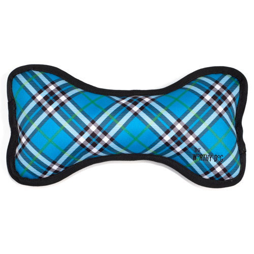 The Worthy Dog Bone Toy, Bias Plaid Blue, Large