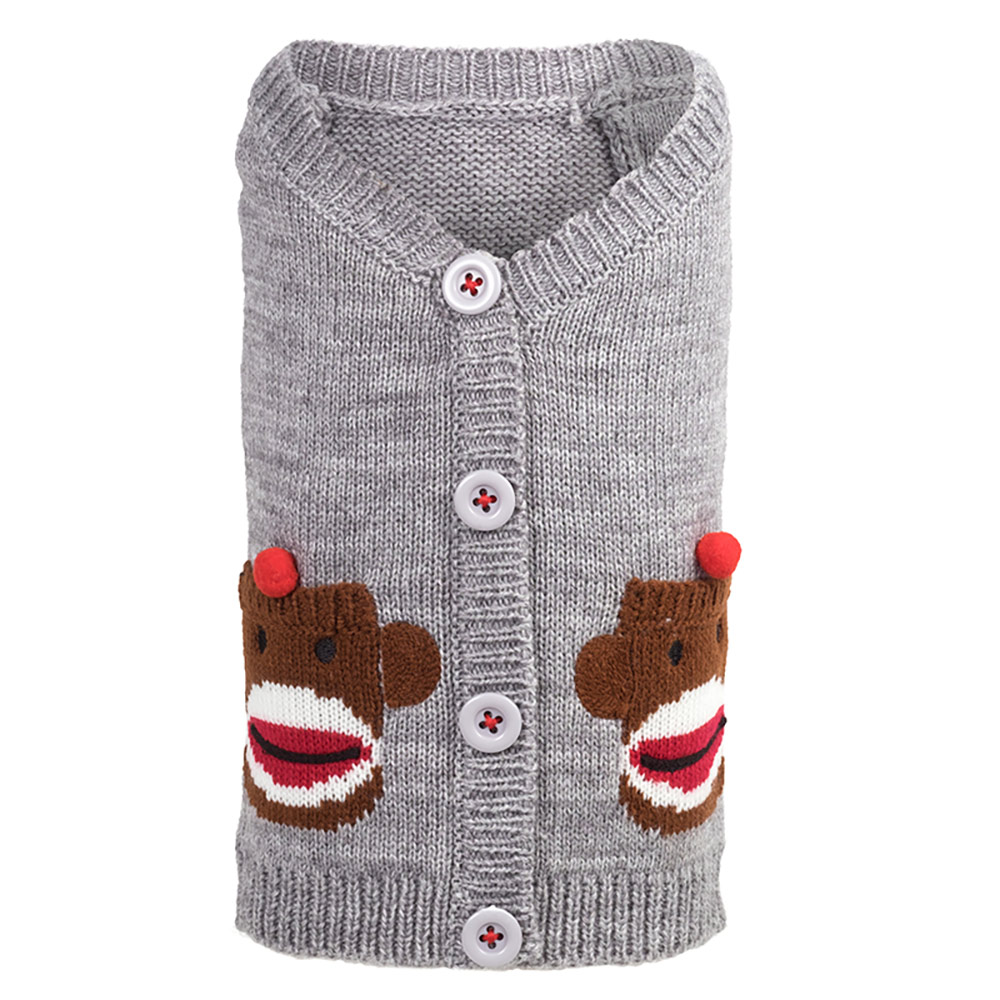 The Worthy Dog Cardigan, Sock Monkey, XX-Large
