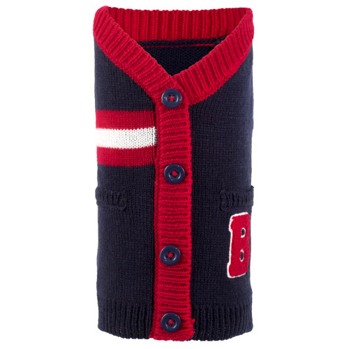 The Worthy Dog Cardigan, Varsity Navy & Red, X-Small