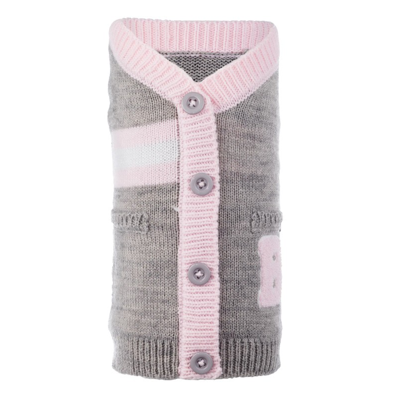The Worthy Dog Cardigan, Varsity Gray & Pink, X-Small