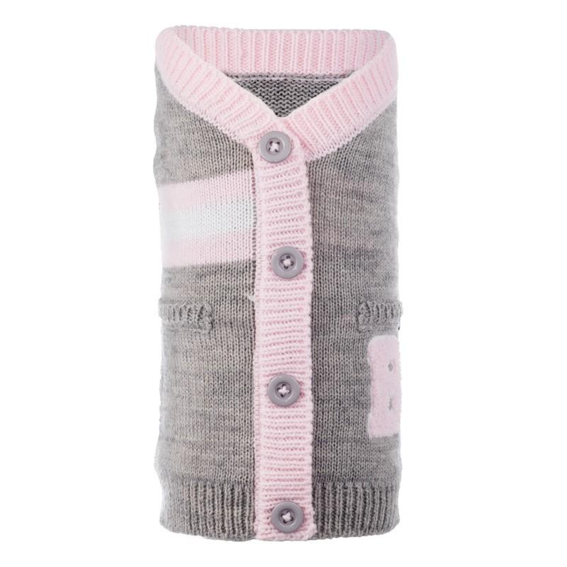 The Worthy Dog Cardigan, Varsity Gray & Pink, XX-Large