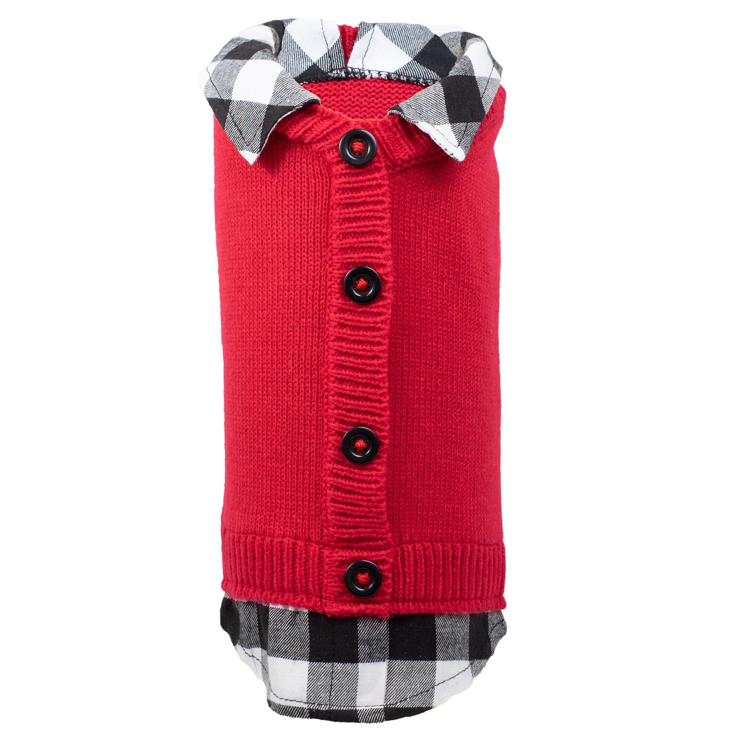 The Worthy Dog Cardigan, Two fer Red & Buffalo, X-Small