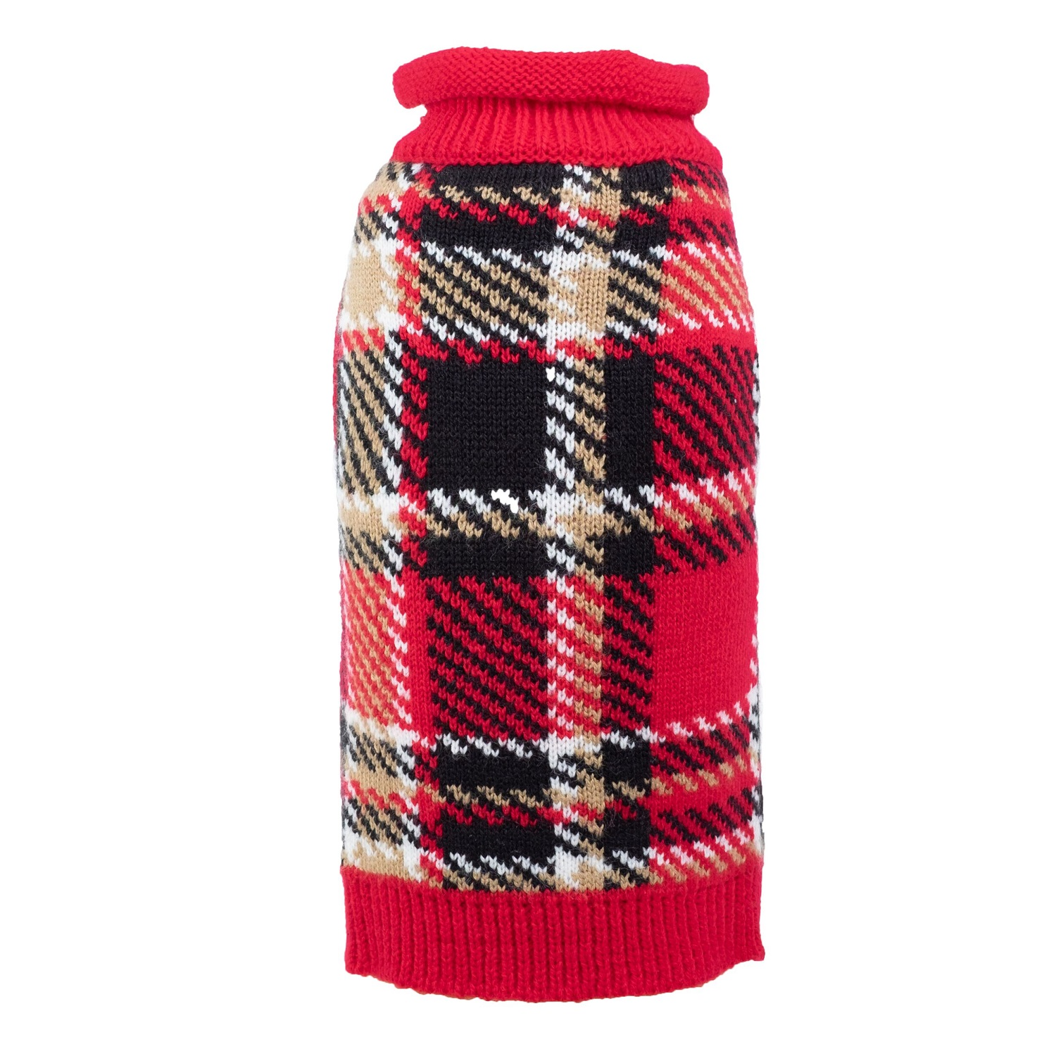 The Worthy Dog Sweater, Red Plaid, X-Small