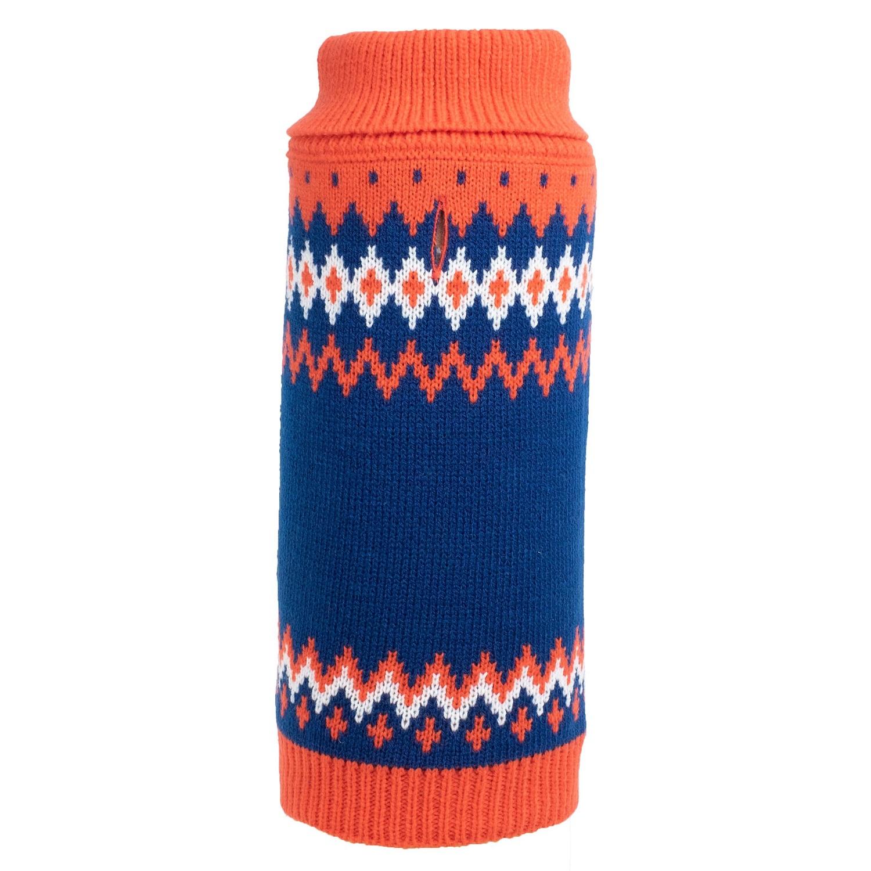The Worthy Dog Sweater, Fairisle Orange, X-Small