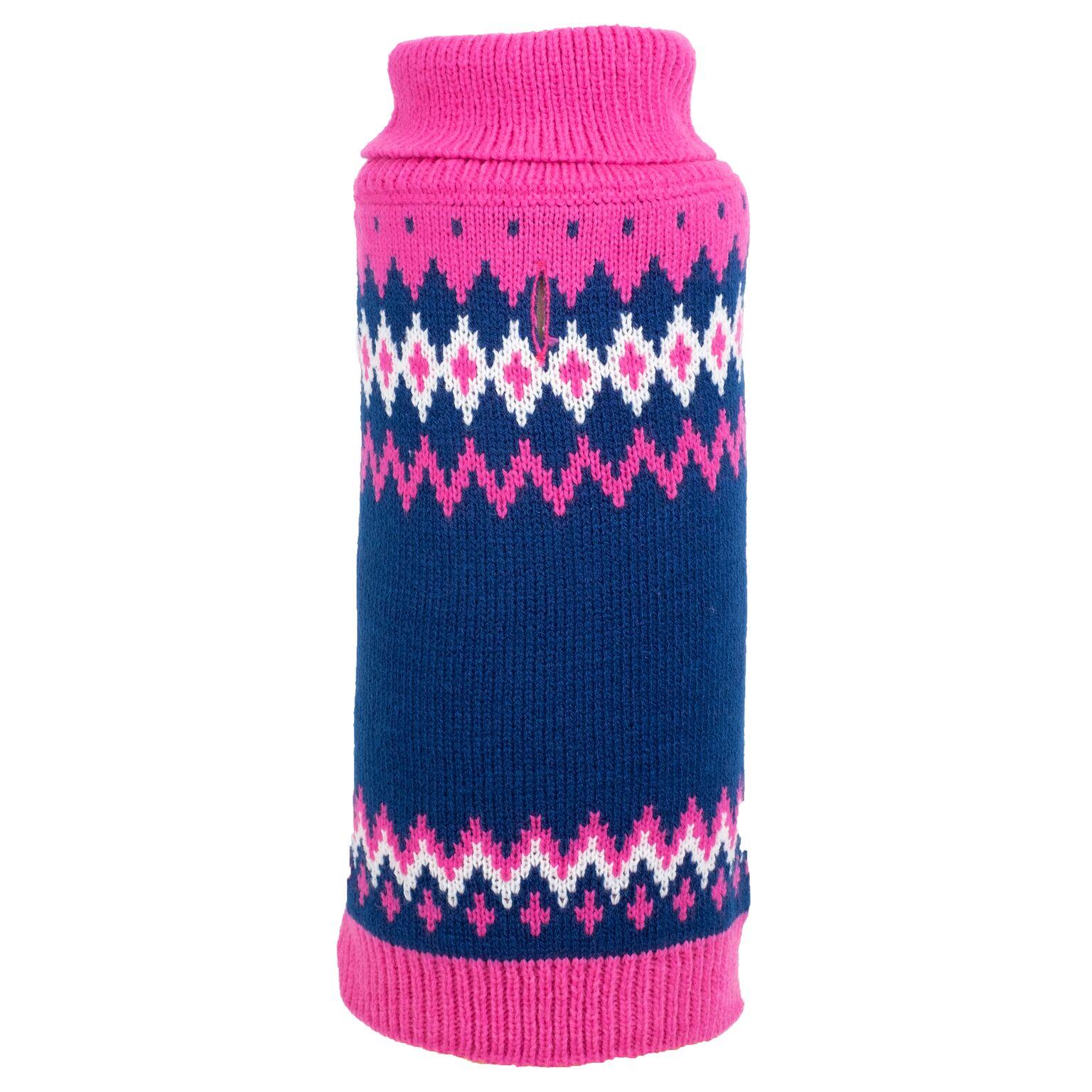 The Worthy Dog Sweater, Fairisle Pink, X-Large