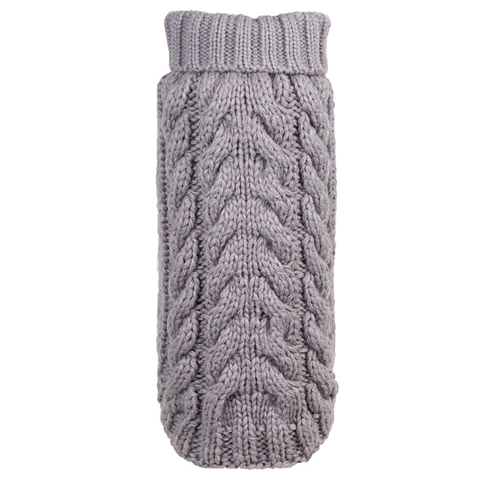 The Worthy Dog Hand Knit Turtleneck Sweater, Grey, XX-Large