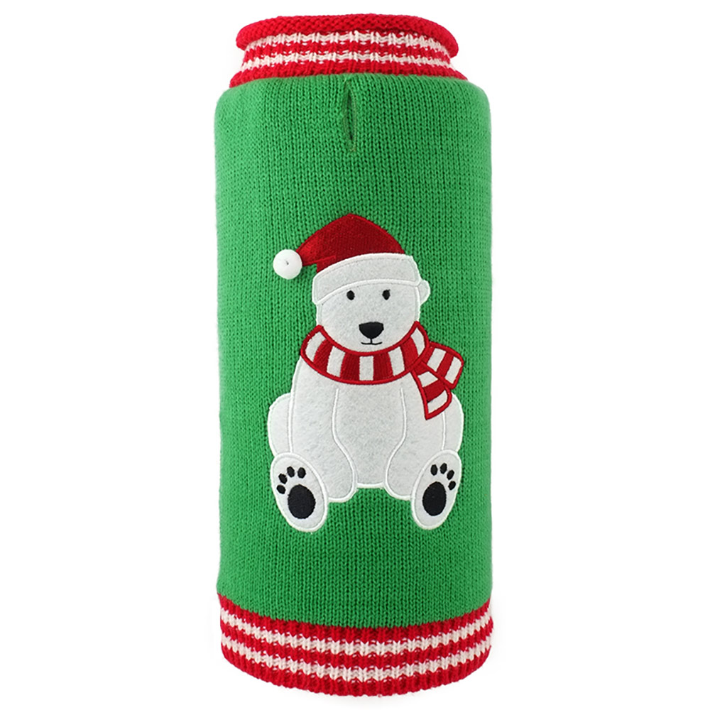 The Worthy Dog Roll Neck Sweater, Christmas Bear, XX-Small