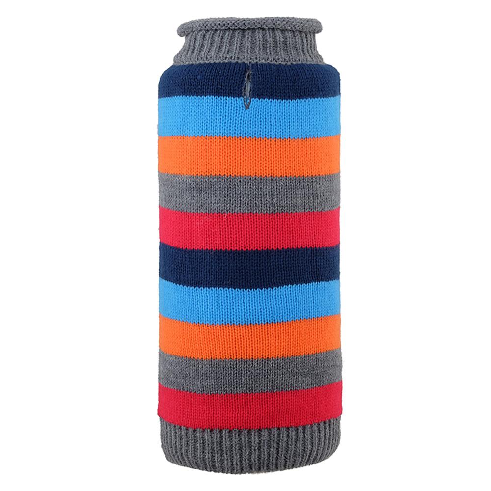 The Worthy Dog Roll Neck Sweater, Dapper Stripe Grey, XX-Small