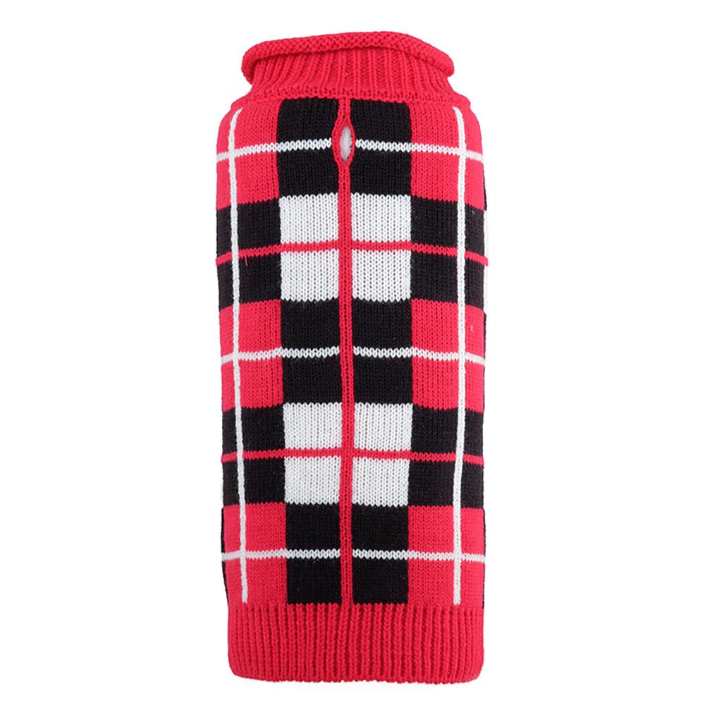 The Worthy Dog Roll Neck Sweater, Oxford Plaid Red, Medium
