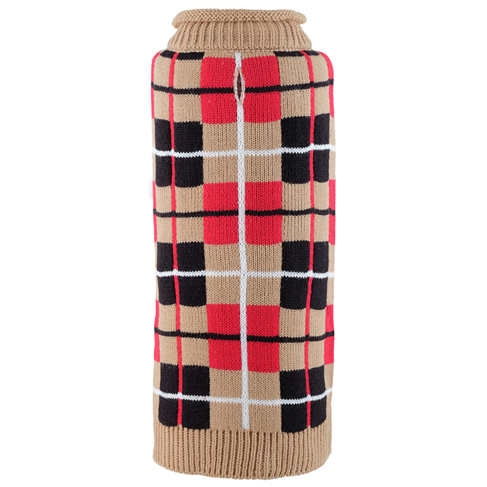 The Worthy Dog Roll Neck Sweater, Oxford Plaid Tan, XX-Small