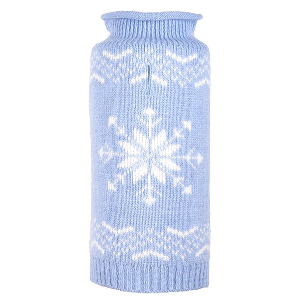 The Worthy Dog Roll Neck Sweater, Snowflake Icy Blue, XX-Small