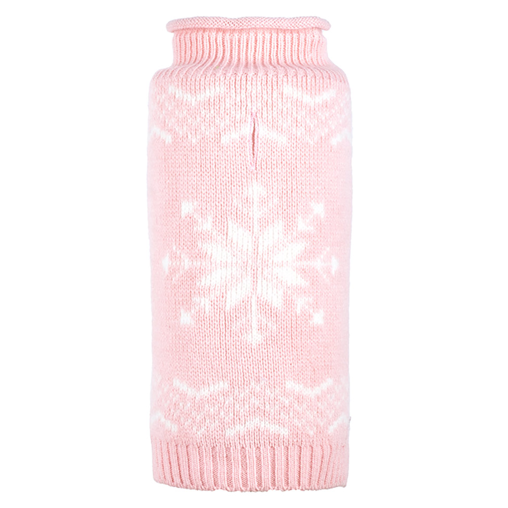The Worthy Dog Roll Neck Sweater, Snowflake Icy Pink, X-Small