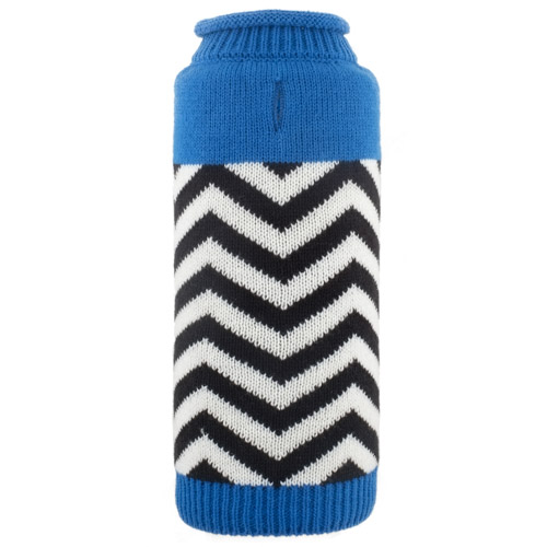 The Worthy Dog Roll Neck Sweater, Chevron Blue, Medium