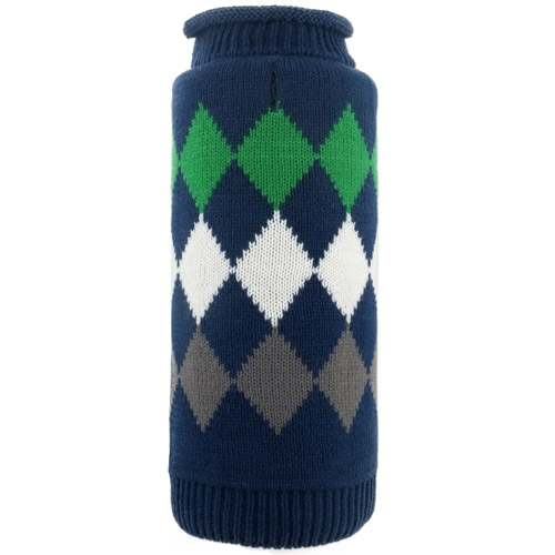 The Worthy Dog Roll Neck Sweater, Modern Argyle Navy, Large