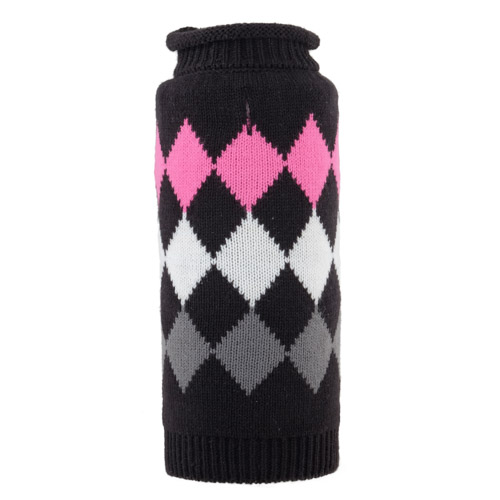 The Worthy Dog Roll Neck Sweater, Modern Argyle Black, Small