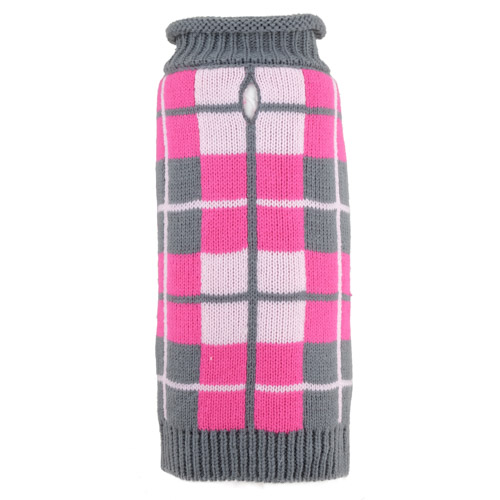 The Worthy Dog Roll Neck Sweater, Oxford Plaid Pink, X-Small