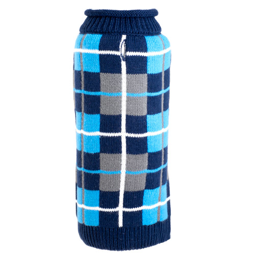 The Worthy Dog Roll Neck Sweater, Oxford Plaid Navy, X-Small
