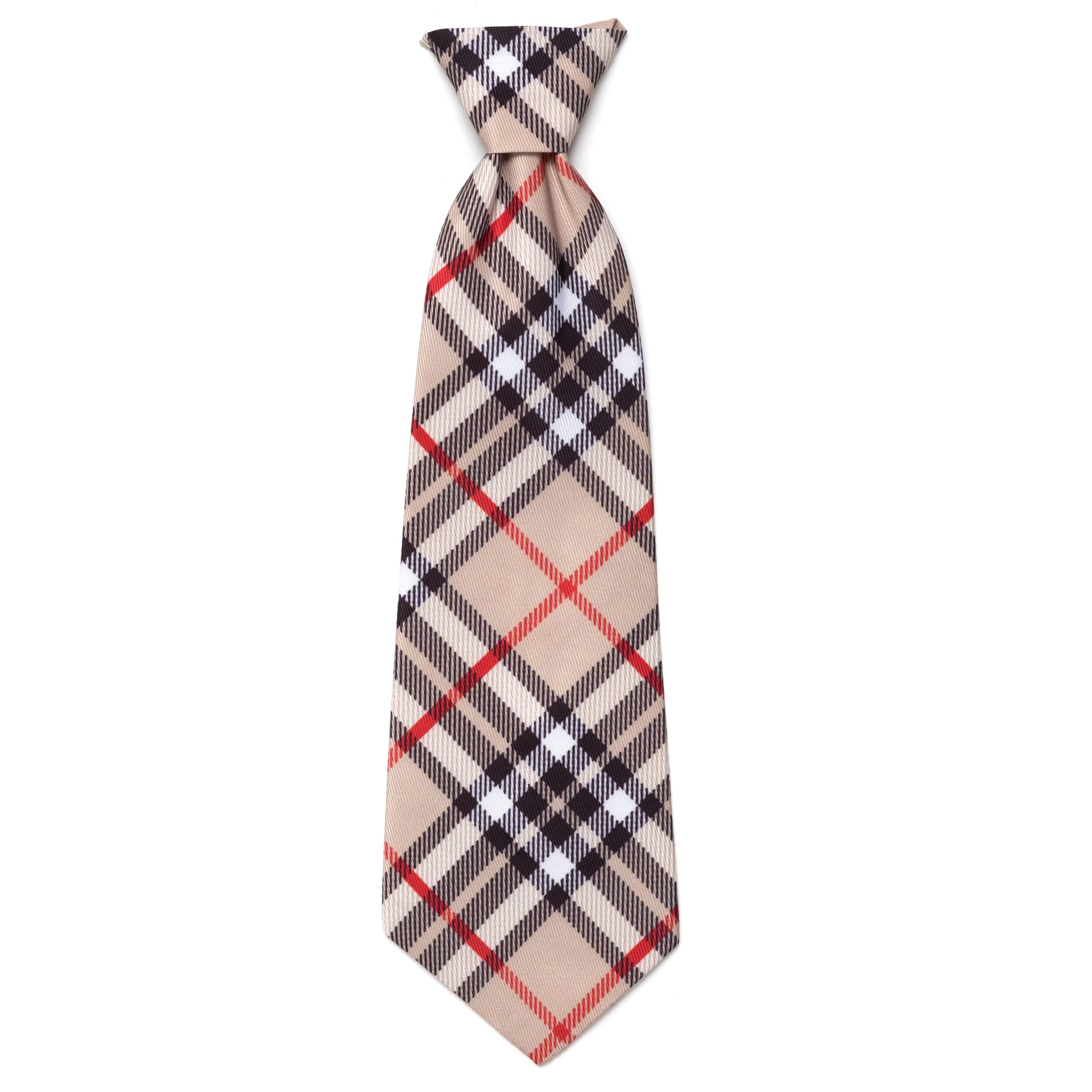 The Worthy Dog Neck Tie, Bias Plaid Tan, Large