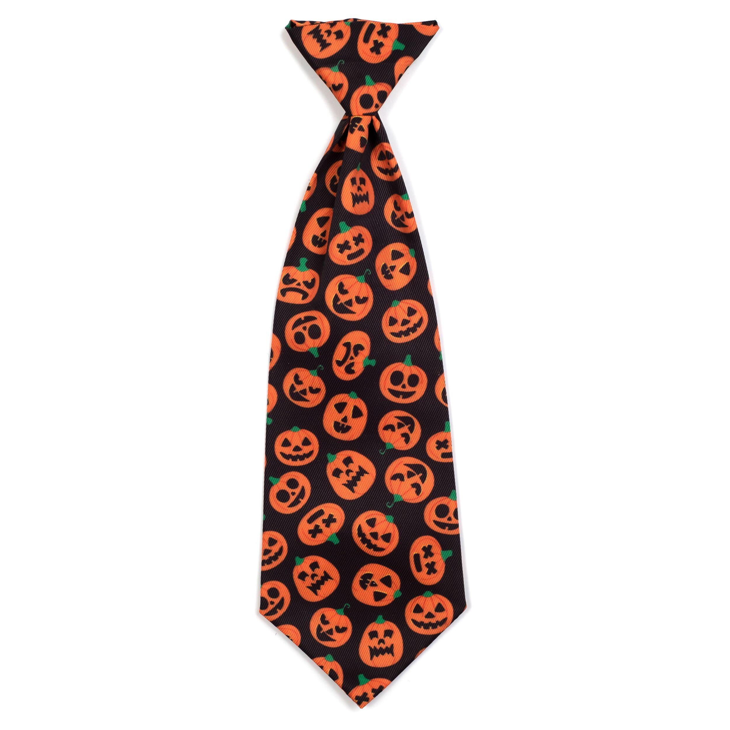The Worthy Dog Neck Tie, Jack-O'-Lantern, Large