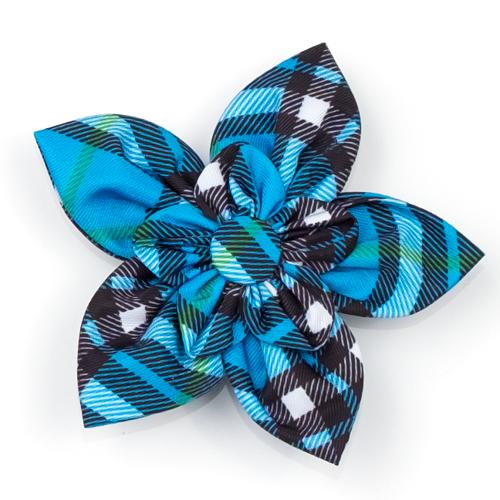 The Worthy Dog Collar Flower, Bias Plaid Blue, Large
