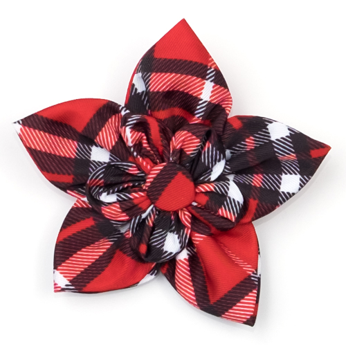 The Worthy Dog Collar Flower, Bias Plaid Red, Large