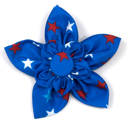 The Worthy Dog Collar Flower, Patriotic Stars, Large