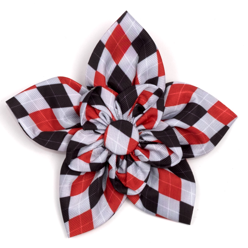 The Worthy Dog Collar Flower, Preppy Argyle Red & Gray, Large