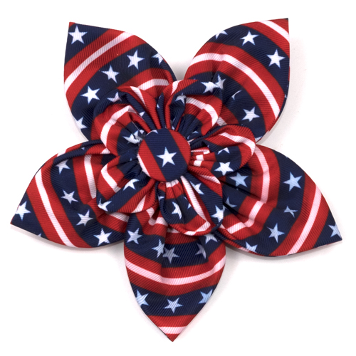 The Worthy Dog Collar Flower, Stars and Stripes, Large