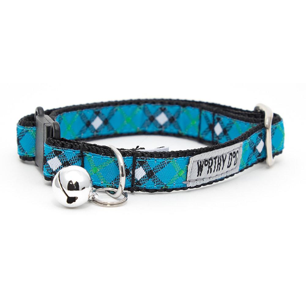 The Worthy Dog Cat Collar, Bias Plaid Blue