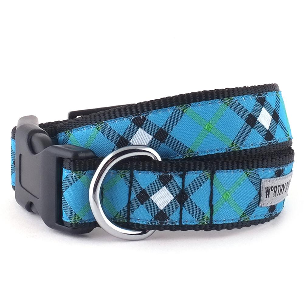 The Worthy Dog Collar, Bias Plaid Blue, X-Small