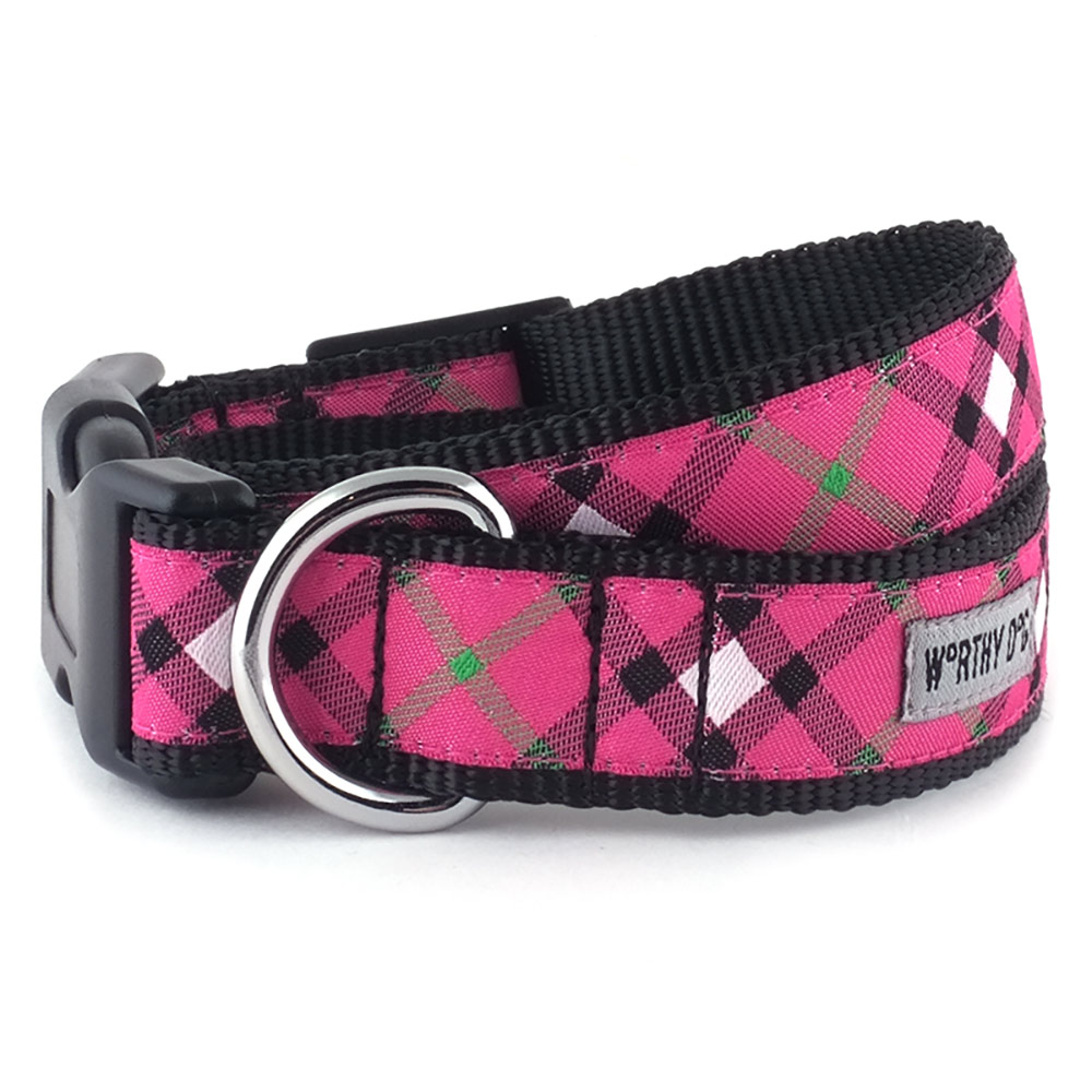 The Worthy Dog Collar, Bias Plaid Hot Pink, Small