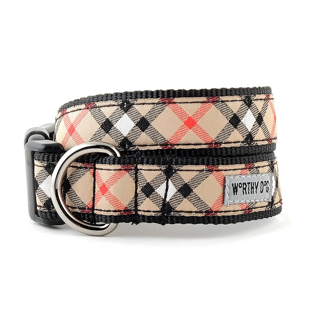 The Worthy Dog Collar, Bias Plaid Tan, X-Small