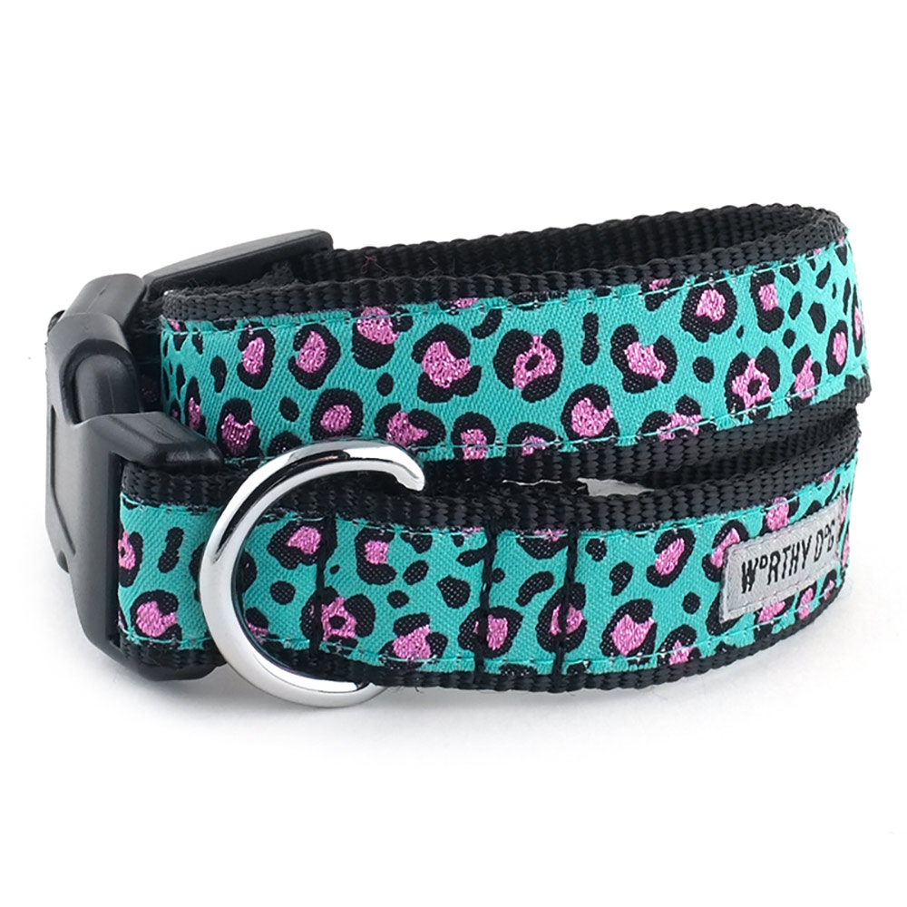 The Worthy Dog Collar, Cheetah Teal, X-Large