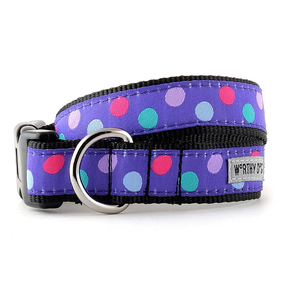 The Worthy Dog Collar, Gumball Purple, Large