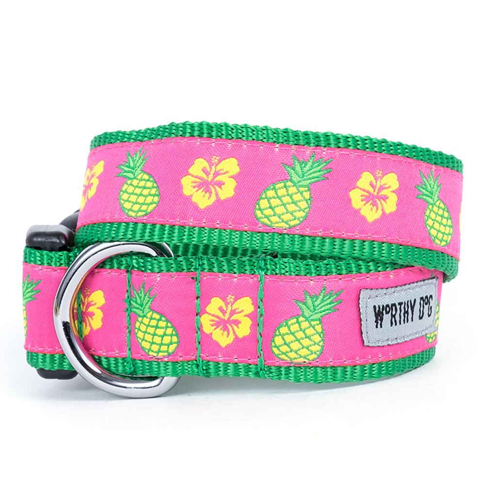 The Worthy Dog Collar, Pineapples, X-Small
