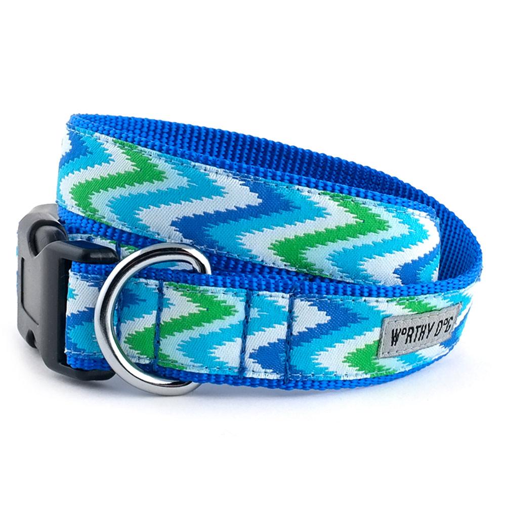 The Worthy Dog Collar, Static Chevron Blue, Small