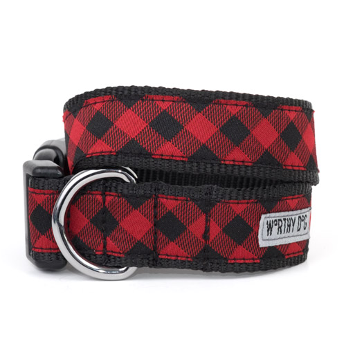 The Worthy Dog Collar, Bias Buffalo Plaid, Medium
