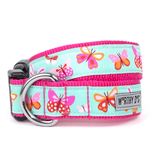 The Worthy Dog Collar, Butterflies, X-Small