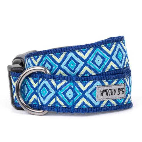 The Worthy Dog Collar, Graphic Diamond Blue, Small
