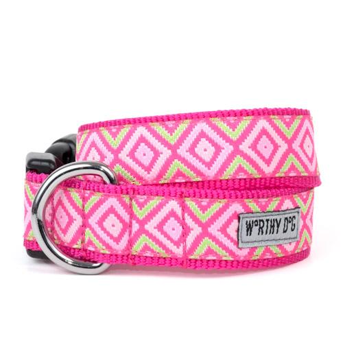 The Worthy Dog Collar, Graphic Diamond Pink, Large