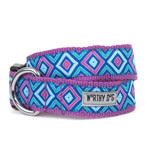 The Worthy Dog Collar, Graphic Diamond Purple, X-Small