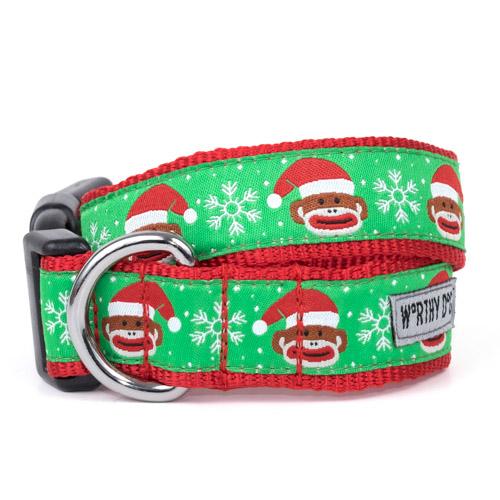 The Worthy Dog Collar, Sock Monkey Santa, Medium