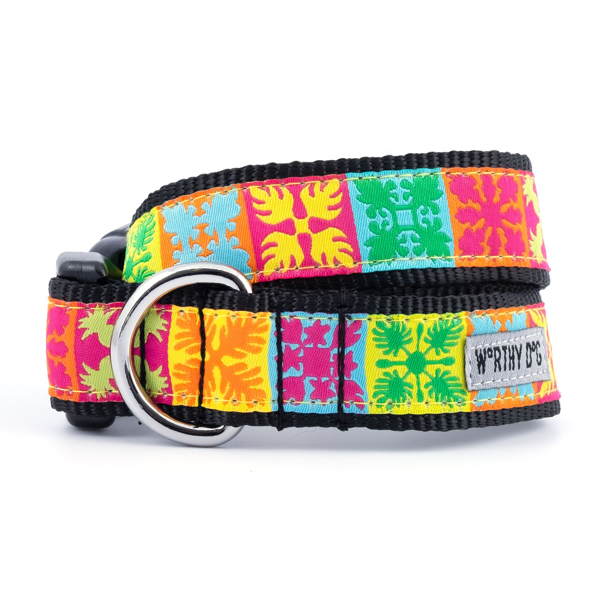 The Worthy Dog Collar, Hawaiian Patchwork, Large