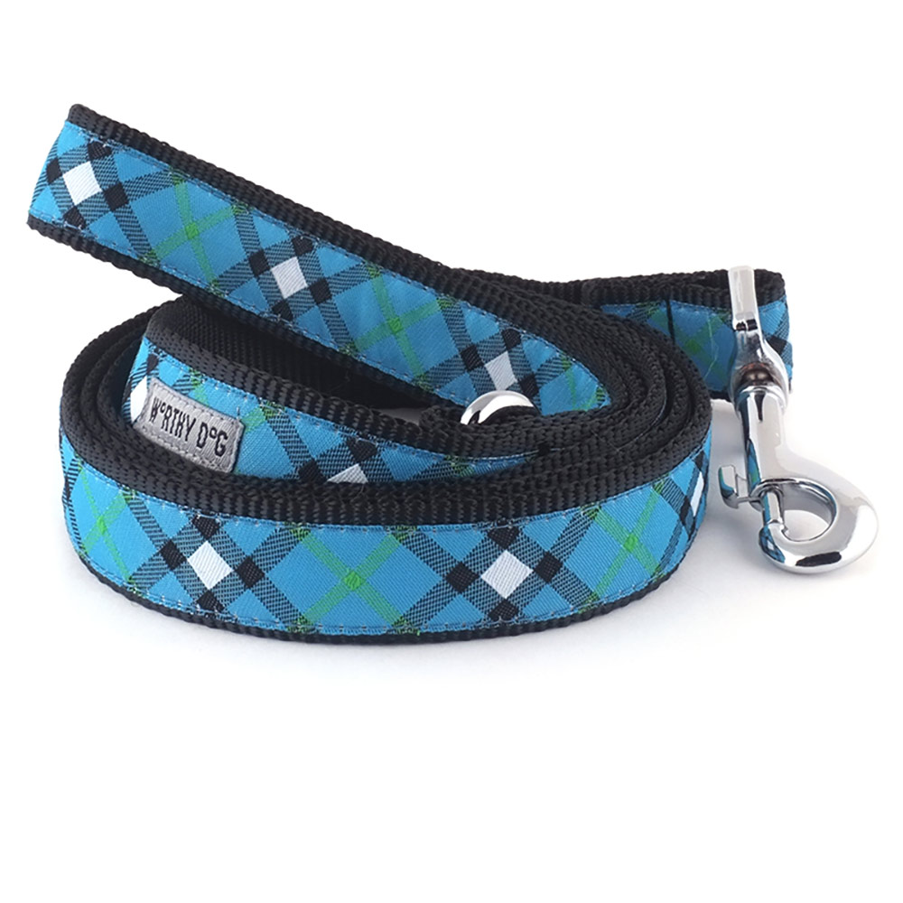 The Worthy Dog Leash, Bias Plaid Blue, Small (5/8-in)