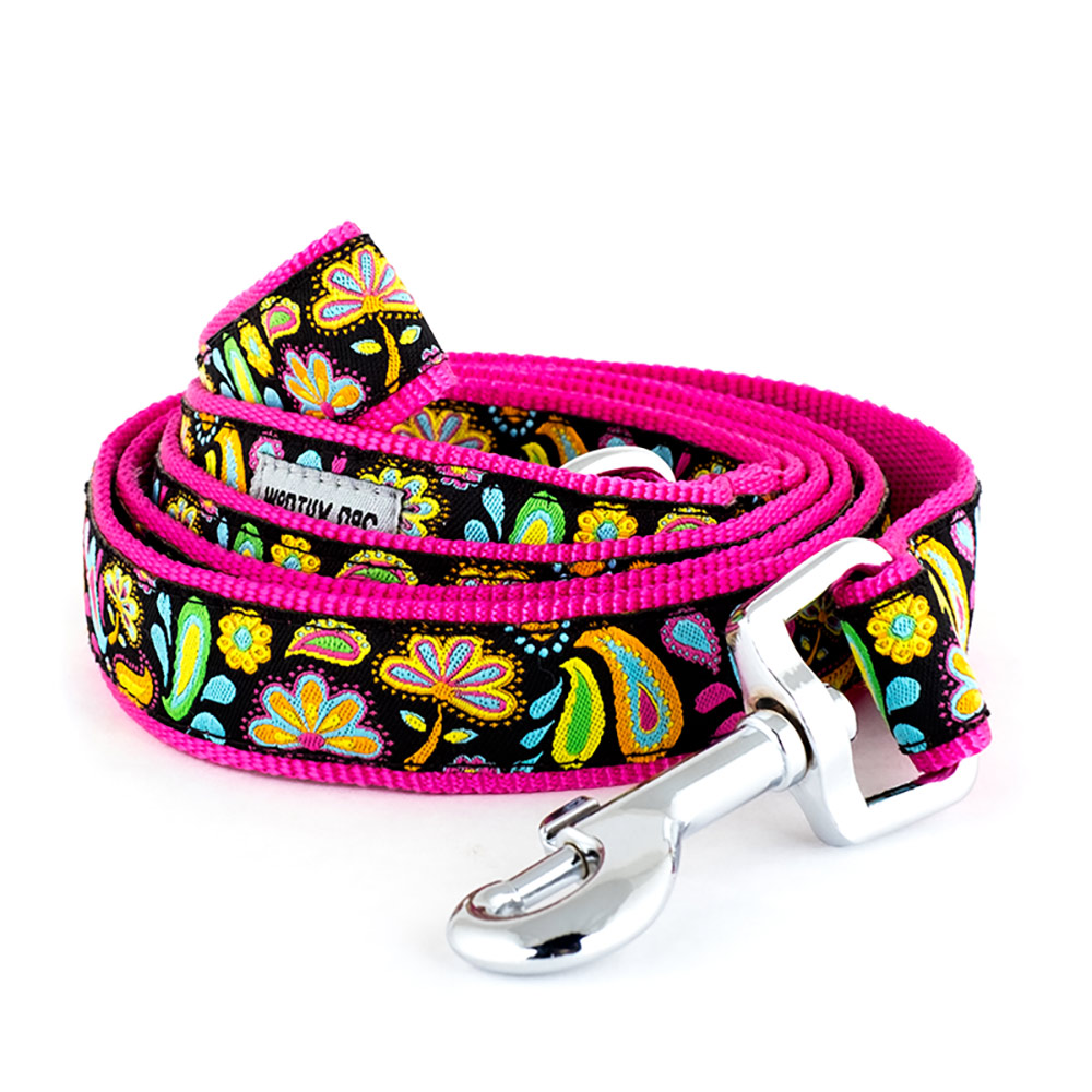 The Worthy Dog Leash, Floral Paisley, Large (1-in)